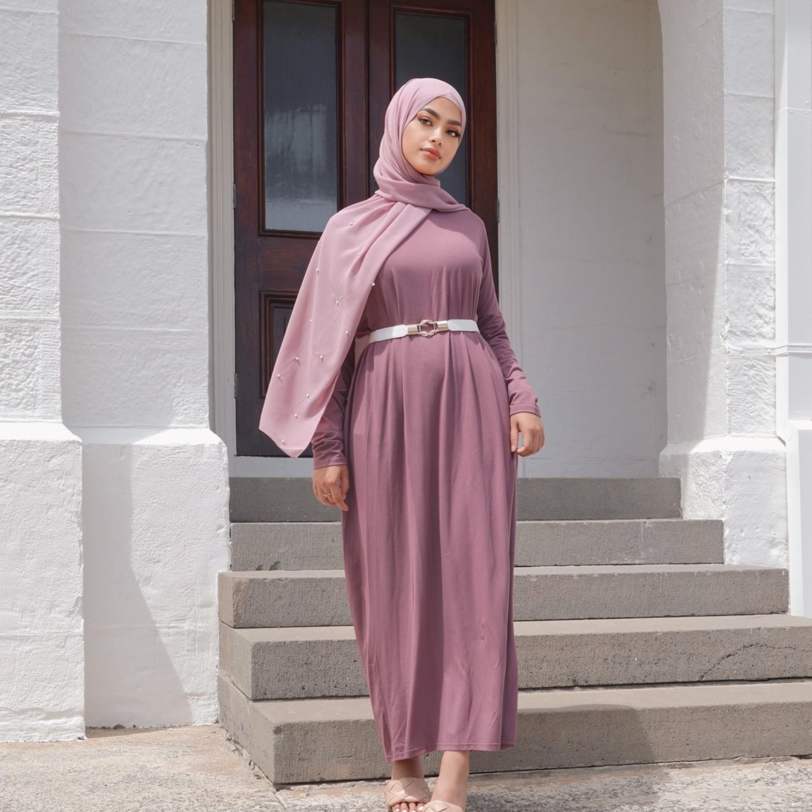 Nasiba Fashion Pastel Eggplant Dolman Dress