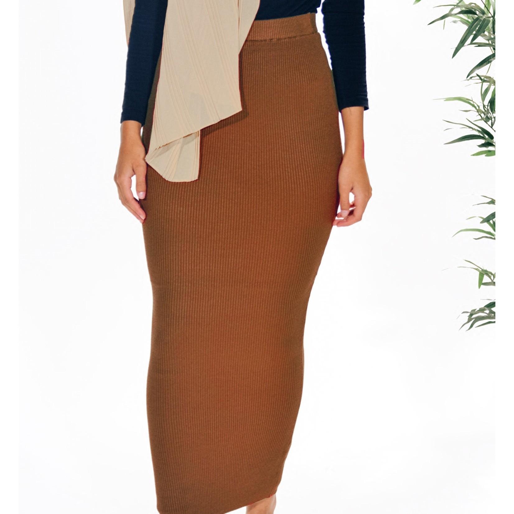 Nasiba Fashion Rust Ribbed Skirt