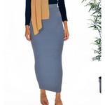Nasiba Fashion Indigo Ribbed Skirt