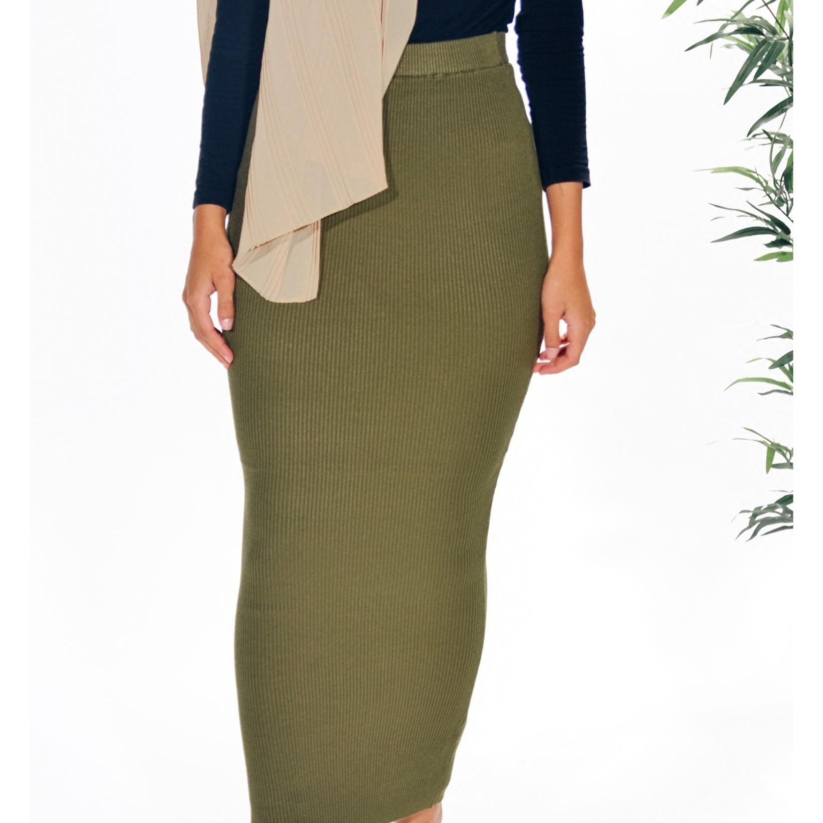 Nasiba Fashion Khaki Ribbed Skirt