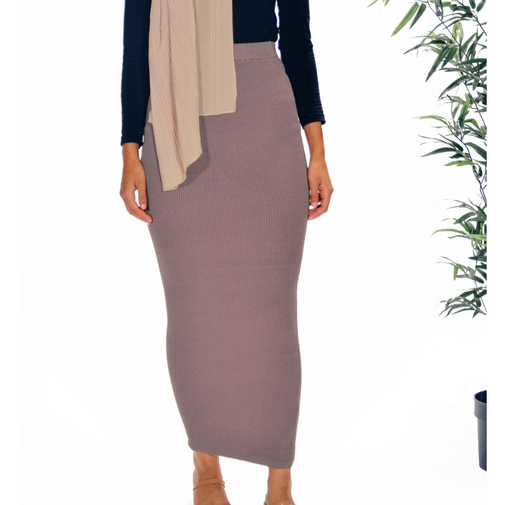 Nasiba Fashion Lilac Ribbed Skirt