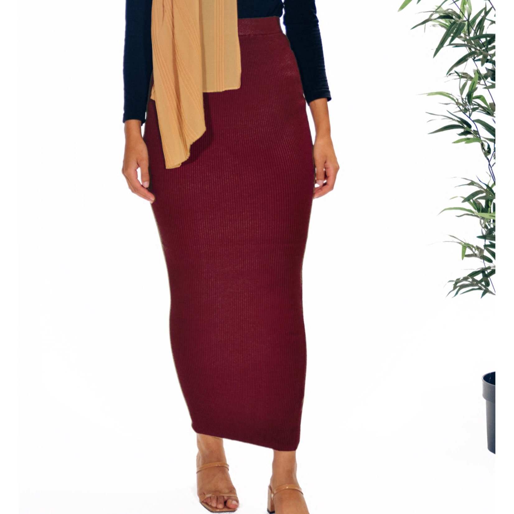 Nasiba Fashion Burgundy Ribbed Skirt