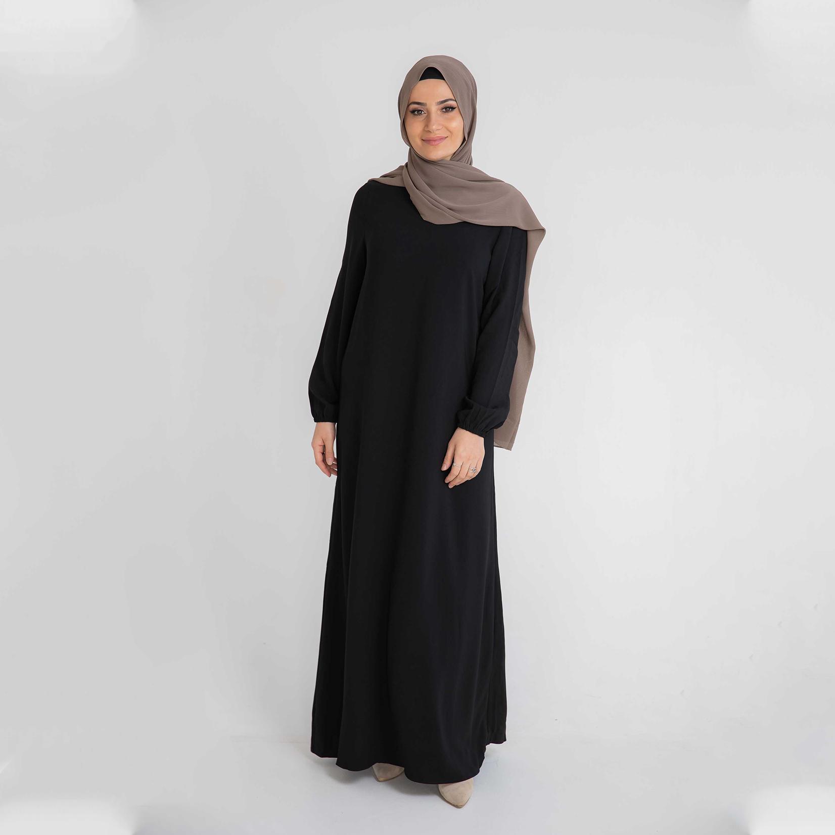 Nasiba Fashion Black Cuffed Abayah