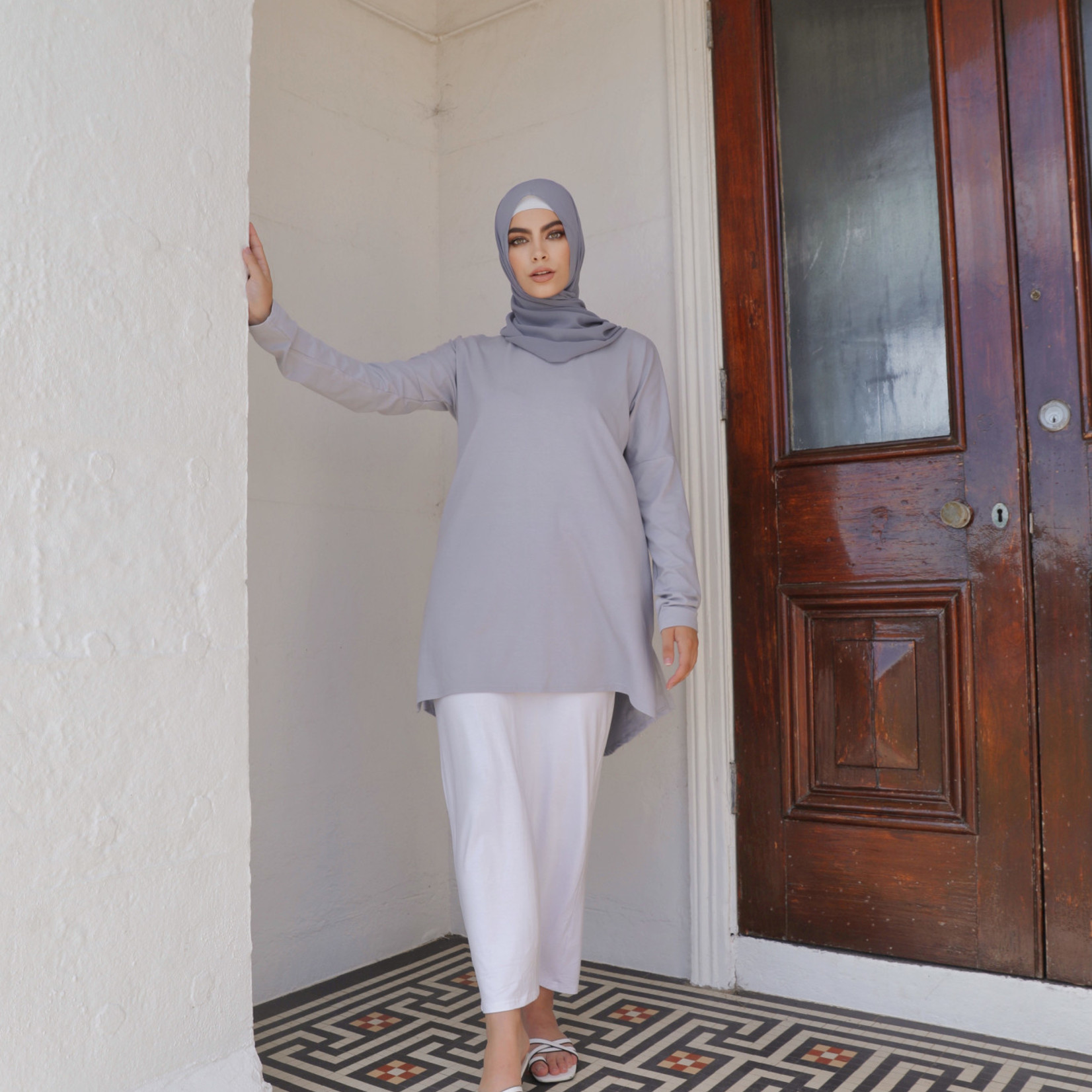 Nasiba Fashion Light Grey Dolman Top