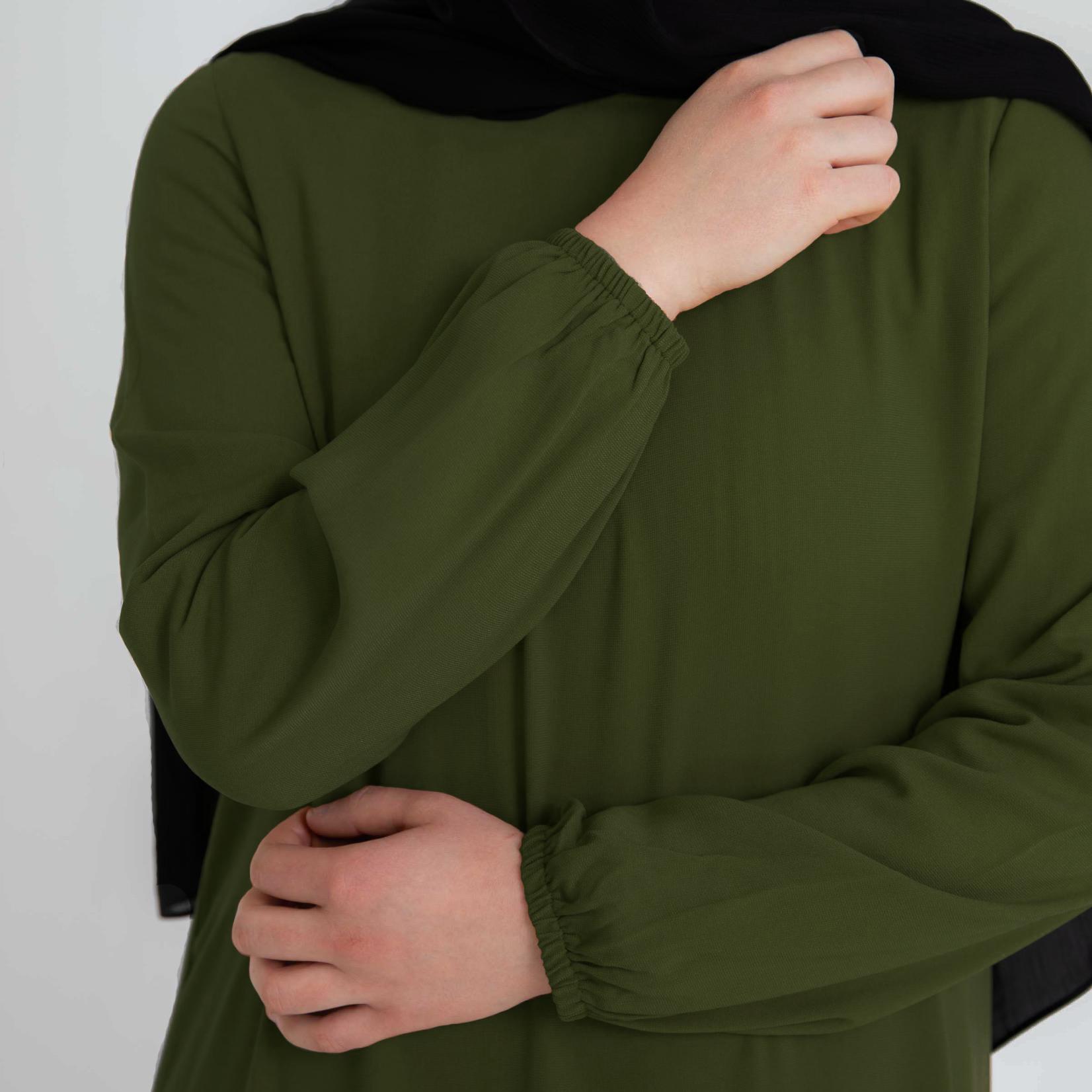 Nasiba Fashion Olive Cuffed Abayah