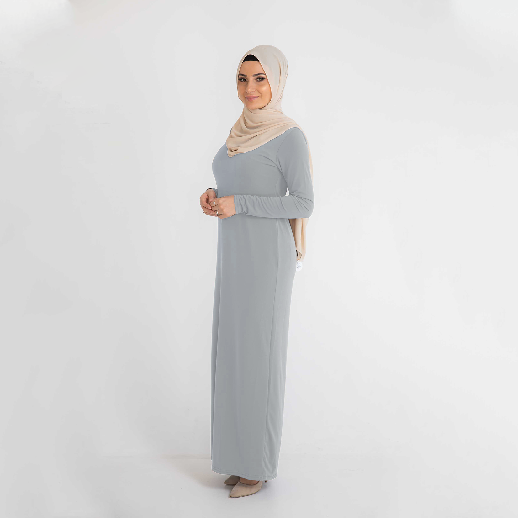 Nasiba Fashion Body Dress Light Grey