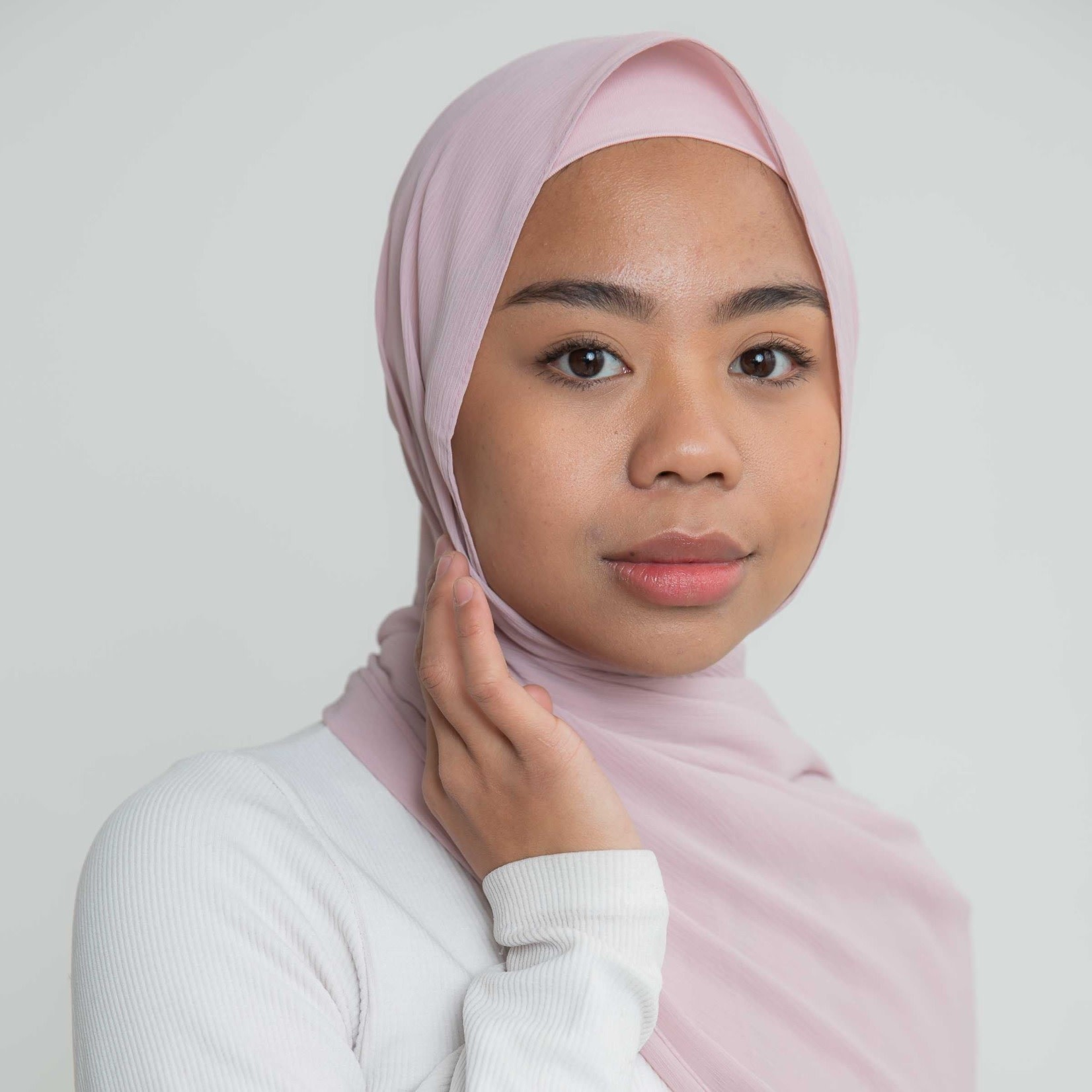 Nasiba Fashion Luxe Crepe Shawl Blush