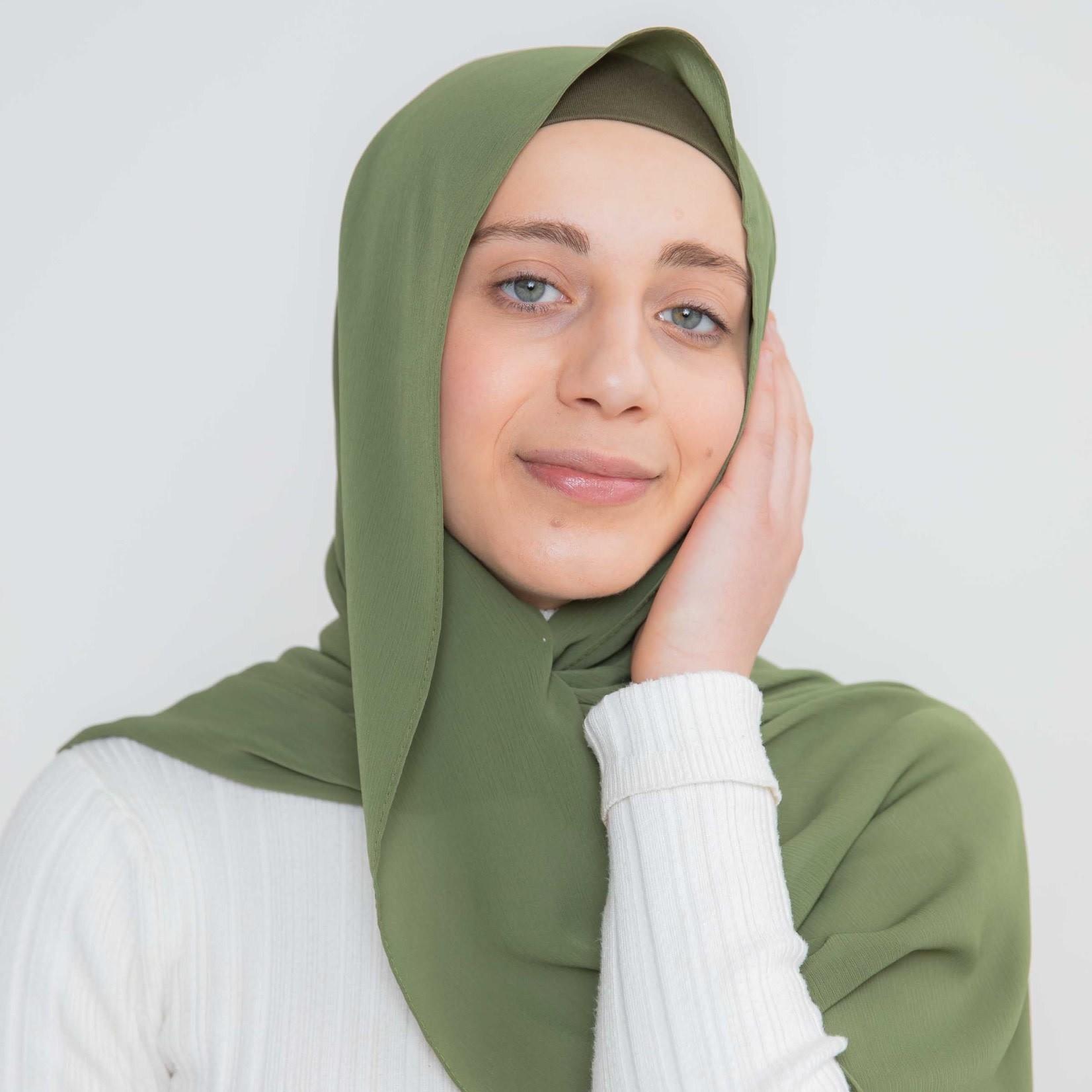 Nasiba Fashion Luxe Crepe Shawl Calla Green