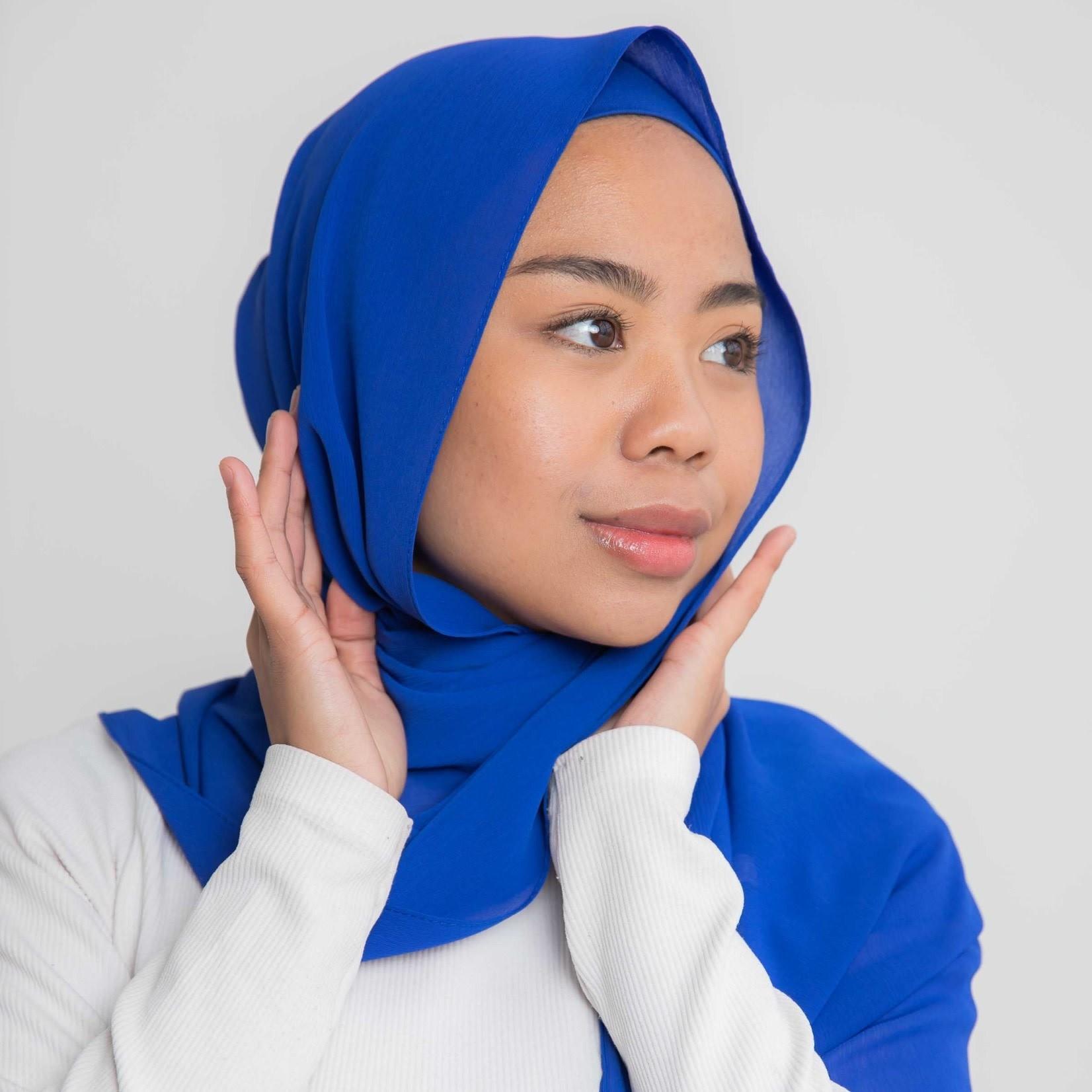 Nasiba Fashion Luxe Crepe Shawl Electric Blue
