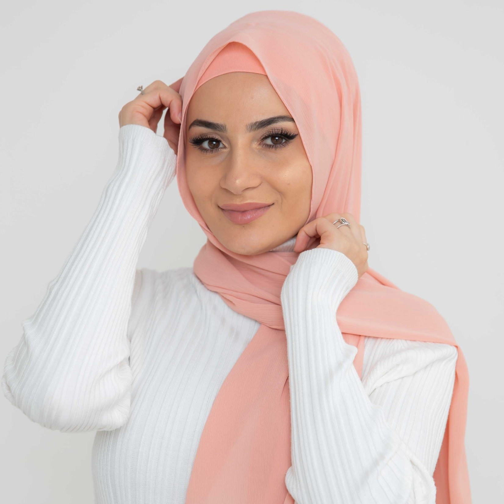 Nasiba Fashion Luxe Crepe Shawl Mellow Rose