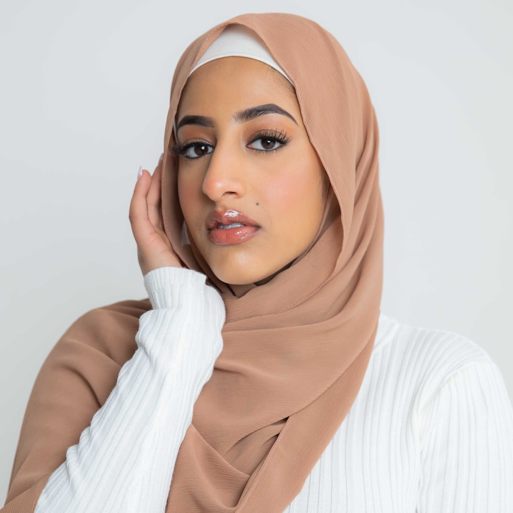 Nasiba Fashion Luxe Crepe Shawl Sandstorm