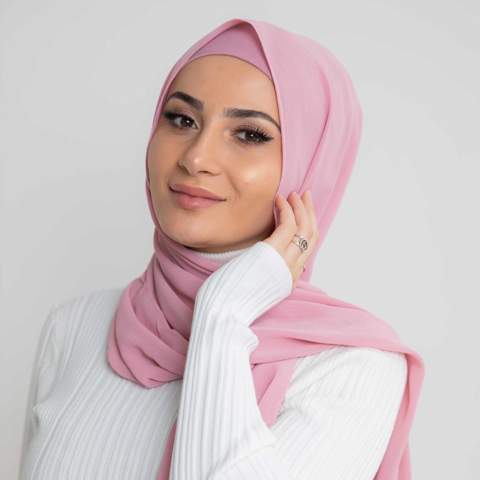 Nasiba Fashion Luxe Crepe Shawl Cameo Pink
