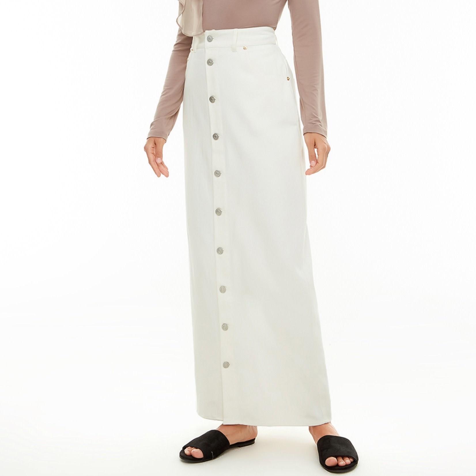 Hijab House White denim skirt