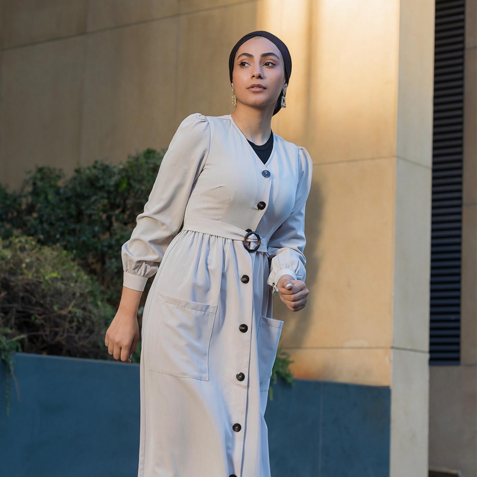 Hijab House Beige Belted Dress