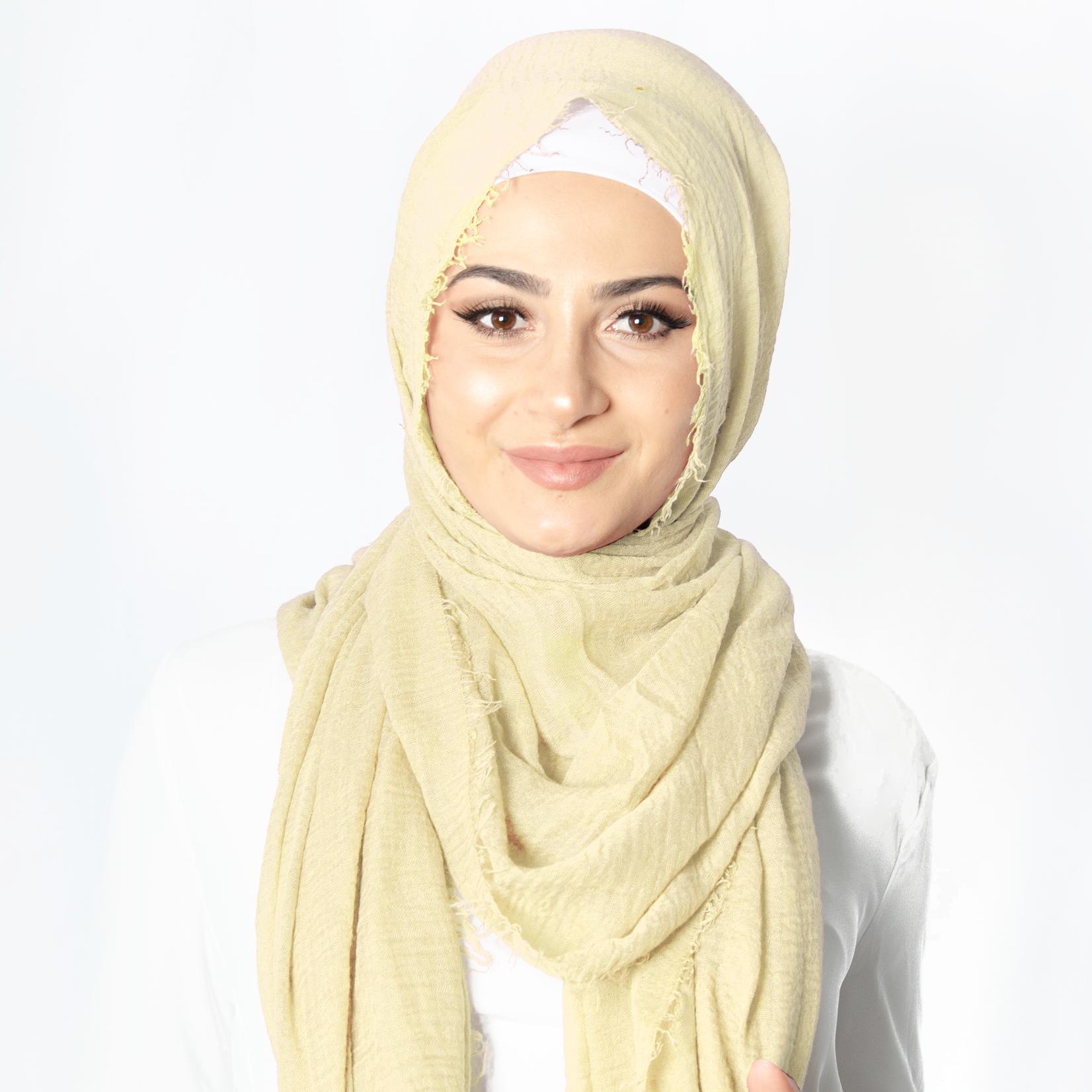 Nasiba Fashion Pale Yellow Cotton Crinkle