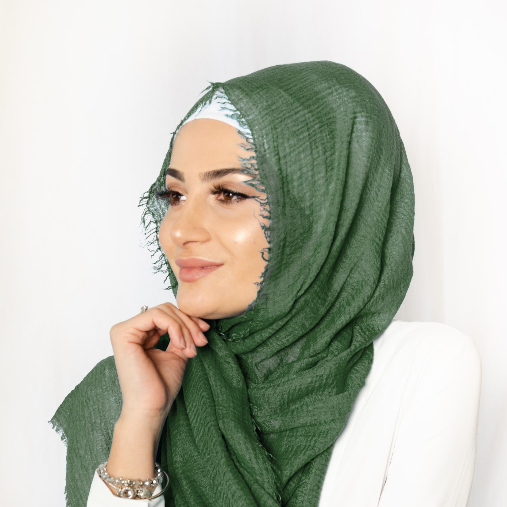 Nasiba Fashion Hunter Green Cotton Crinkle