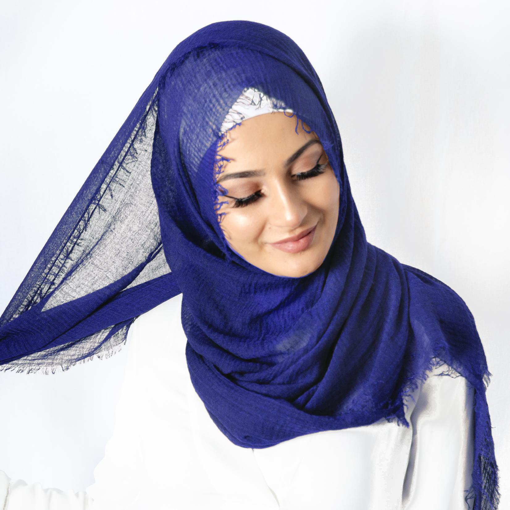 Nasiba Fashion Mid Blue Cotton Crinkle