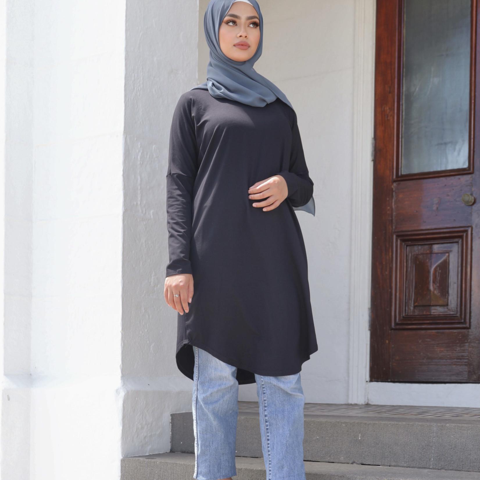 Nasiba Fashion Black Dolman Midi Top