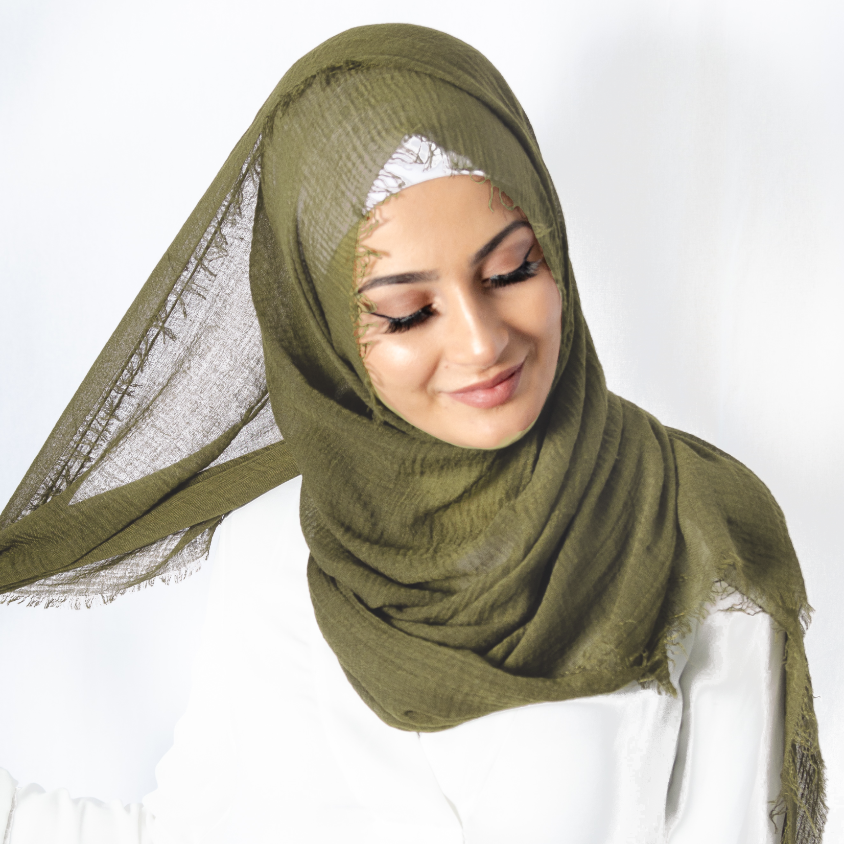 Nasiba Fashion Olive Cotton Crinkle