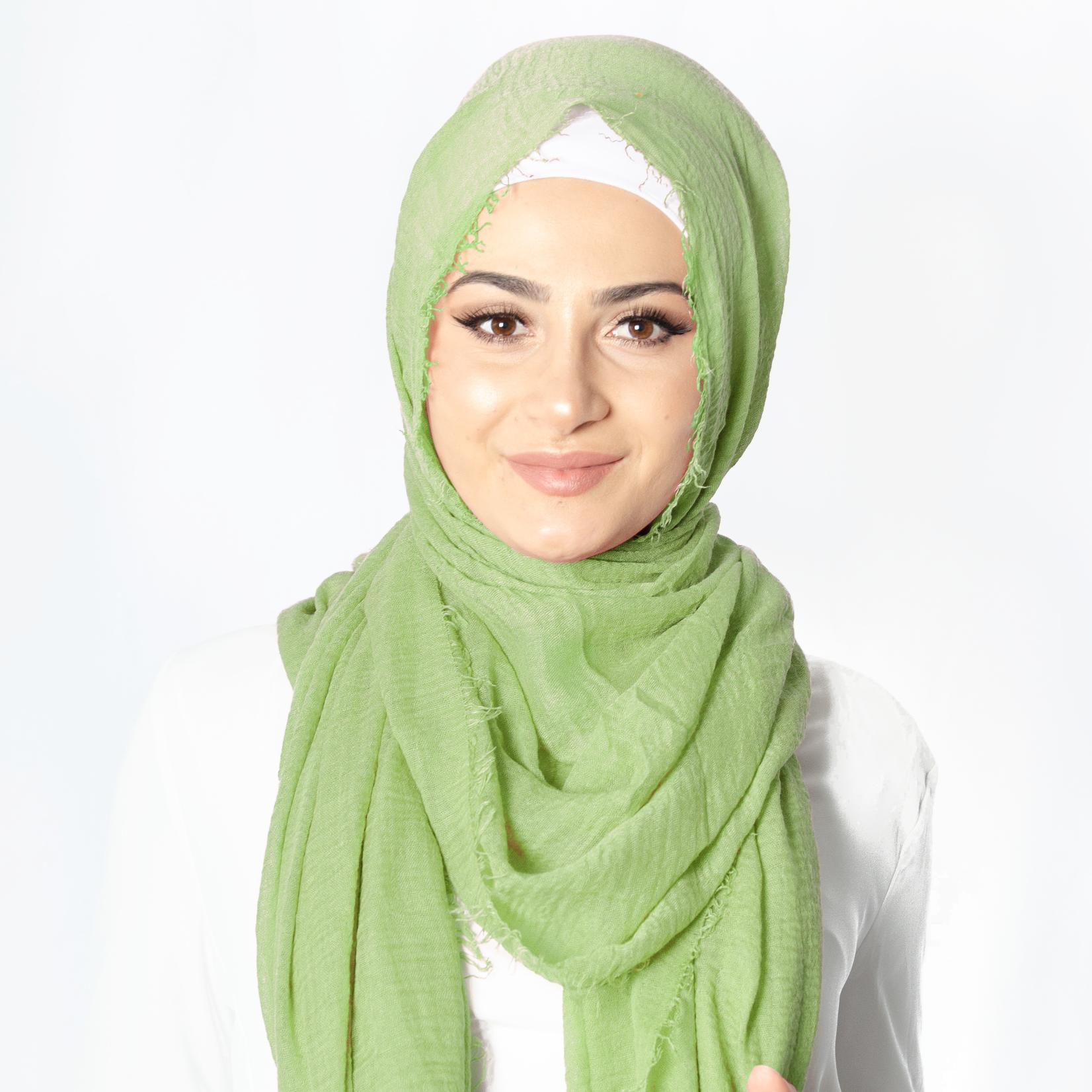 Nasiba Fashion Mid Green Cotton Crinkle