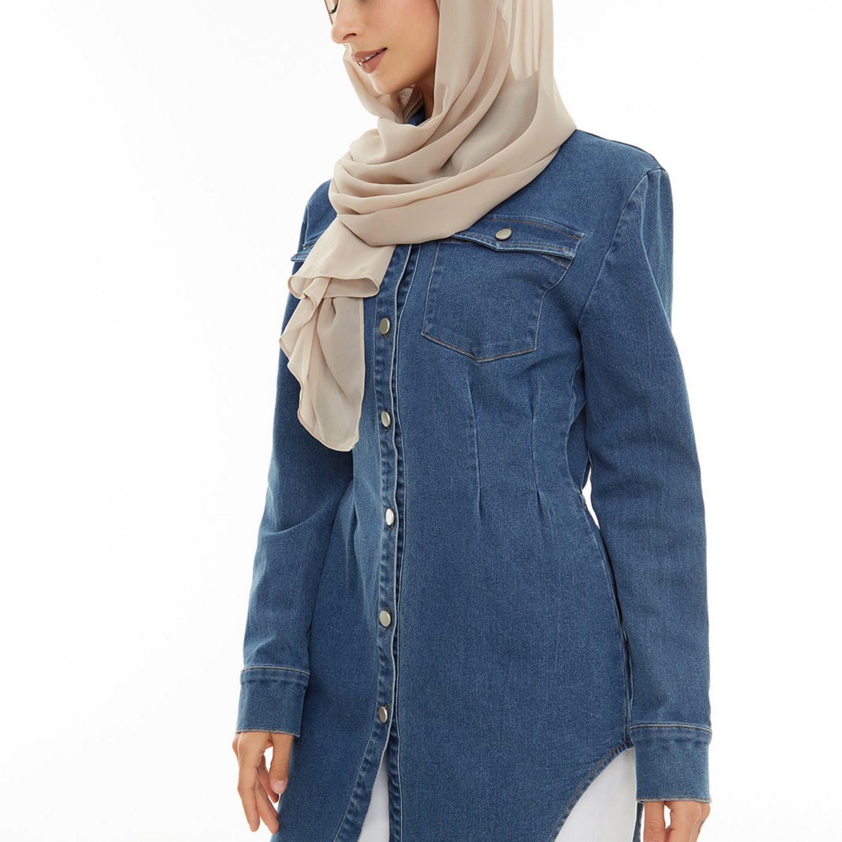 Hijab House Cinched waist denim shirt