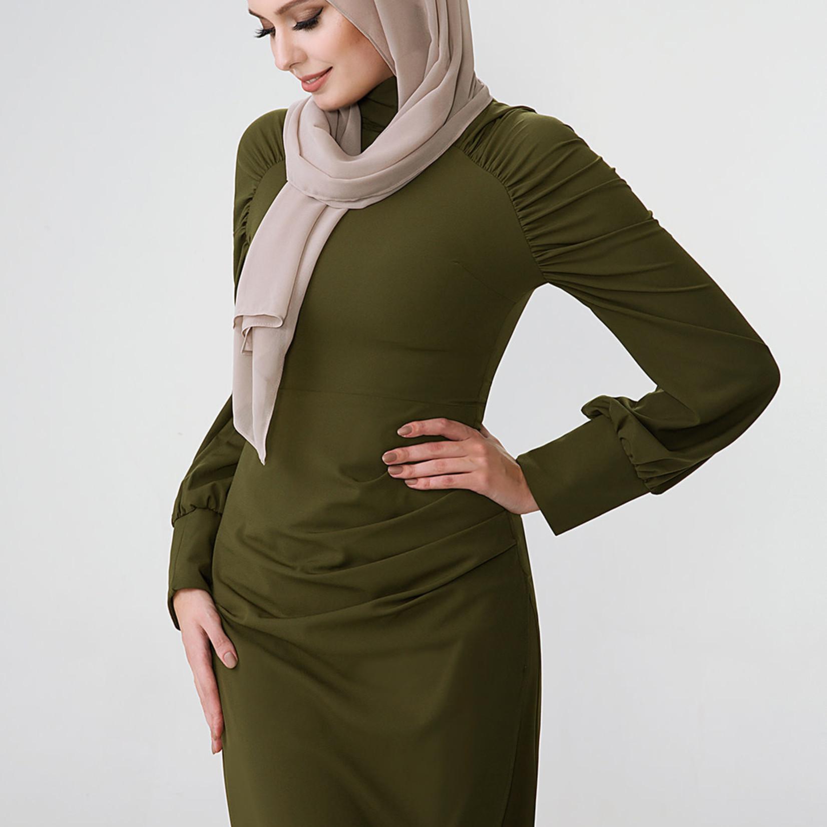 Hijab House Khaki Puff Sleeve Dress