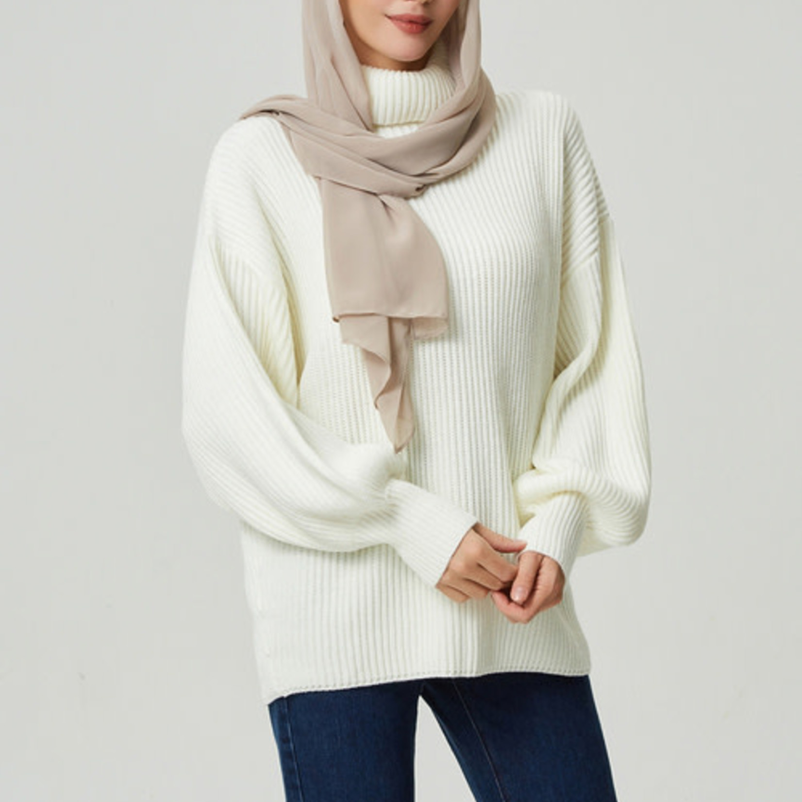 Hijab House White Turtle Knit Sweater