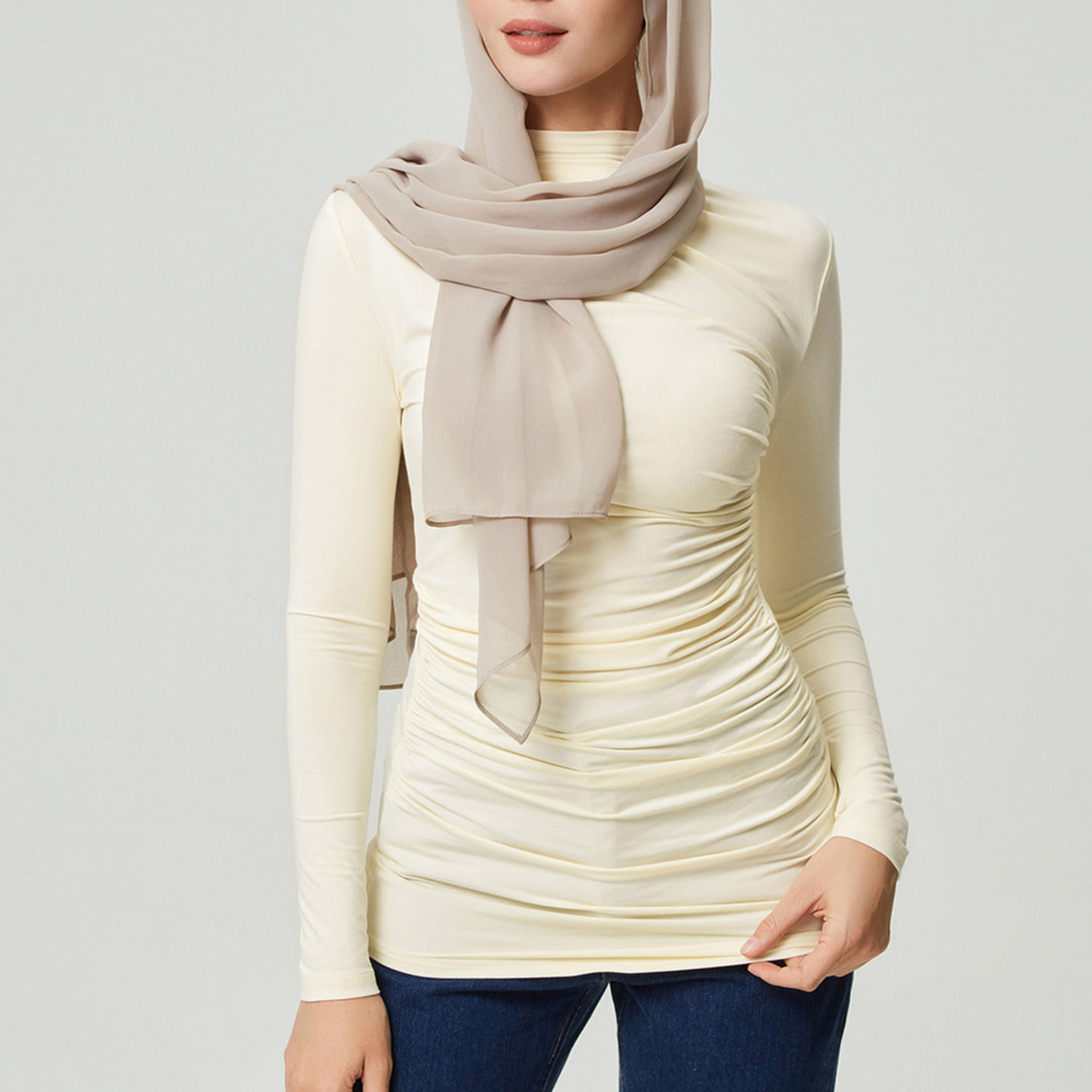 Hijab House Ruched Cream Top