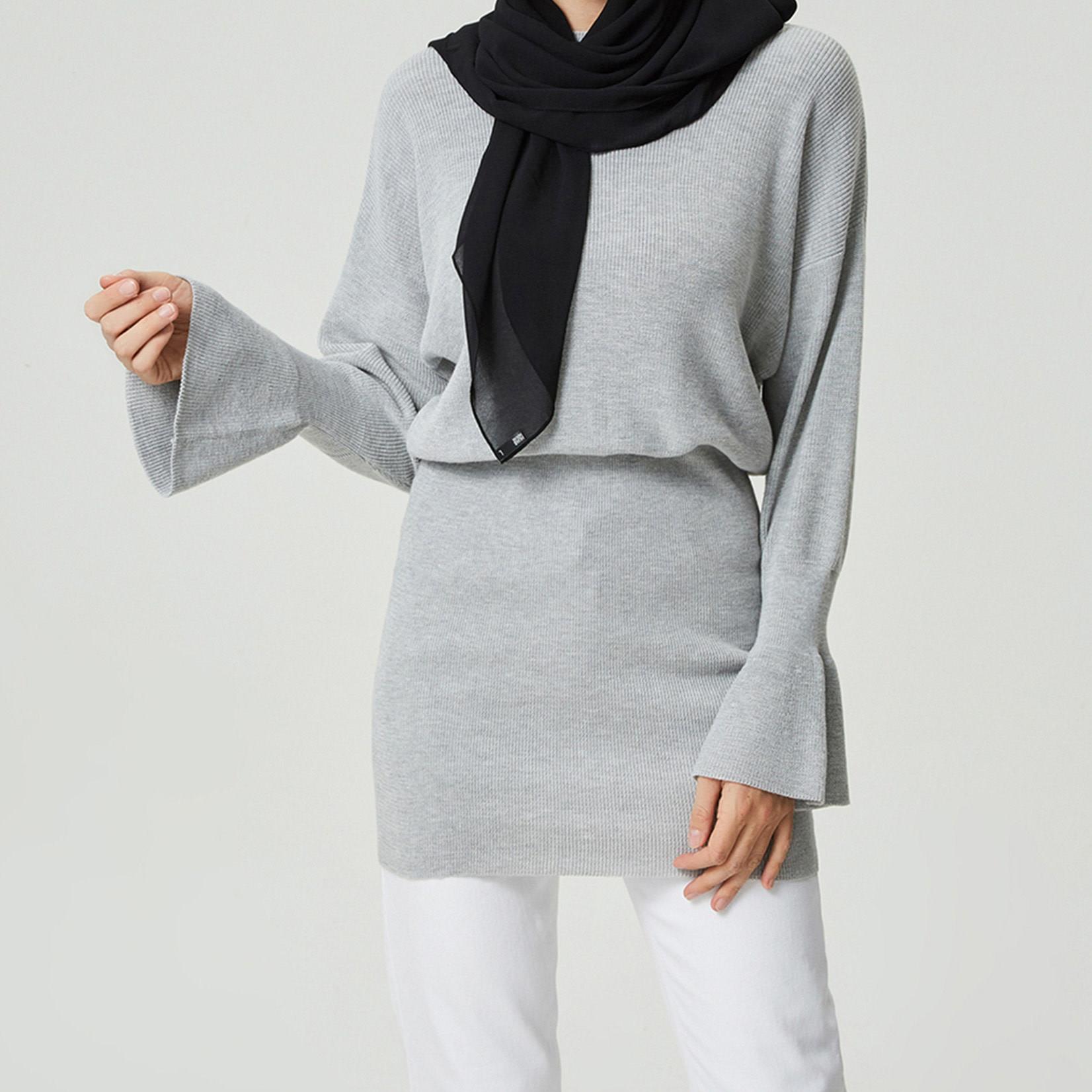 Hijab House Grey Knit Sweater