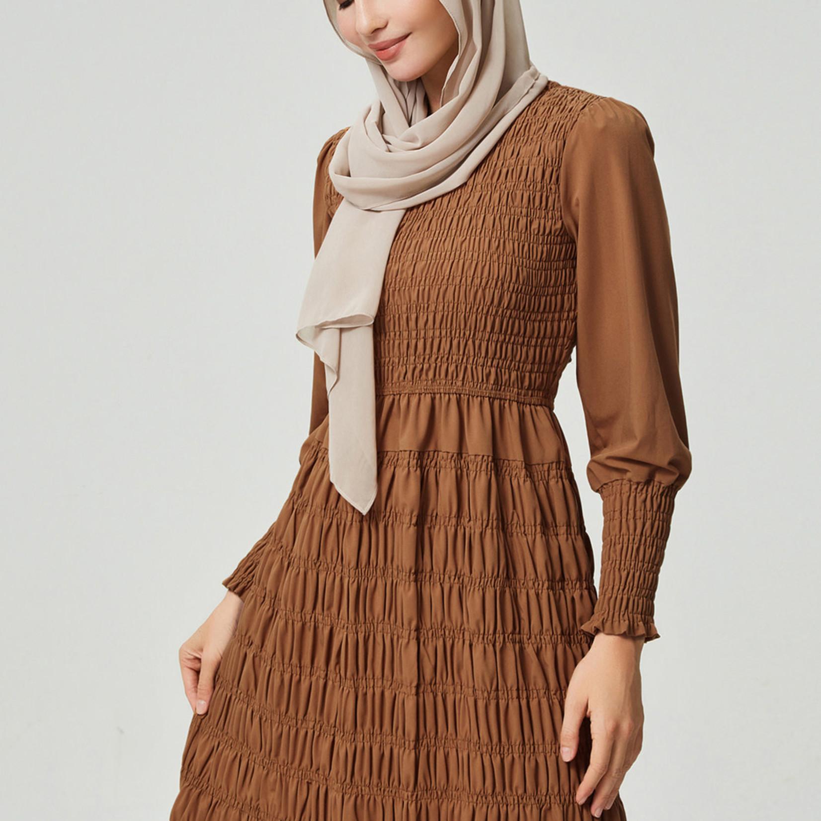 Hijab House Camel Shirred Dress