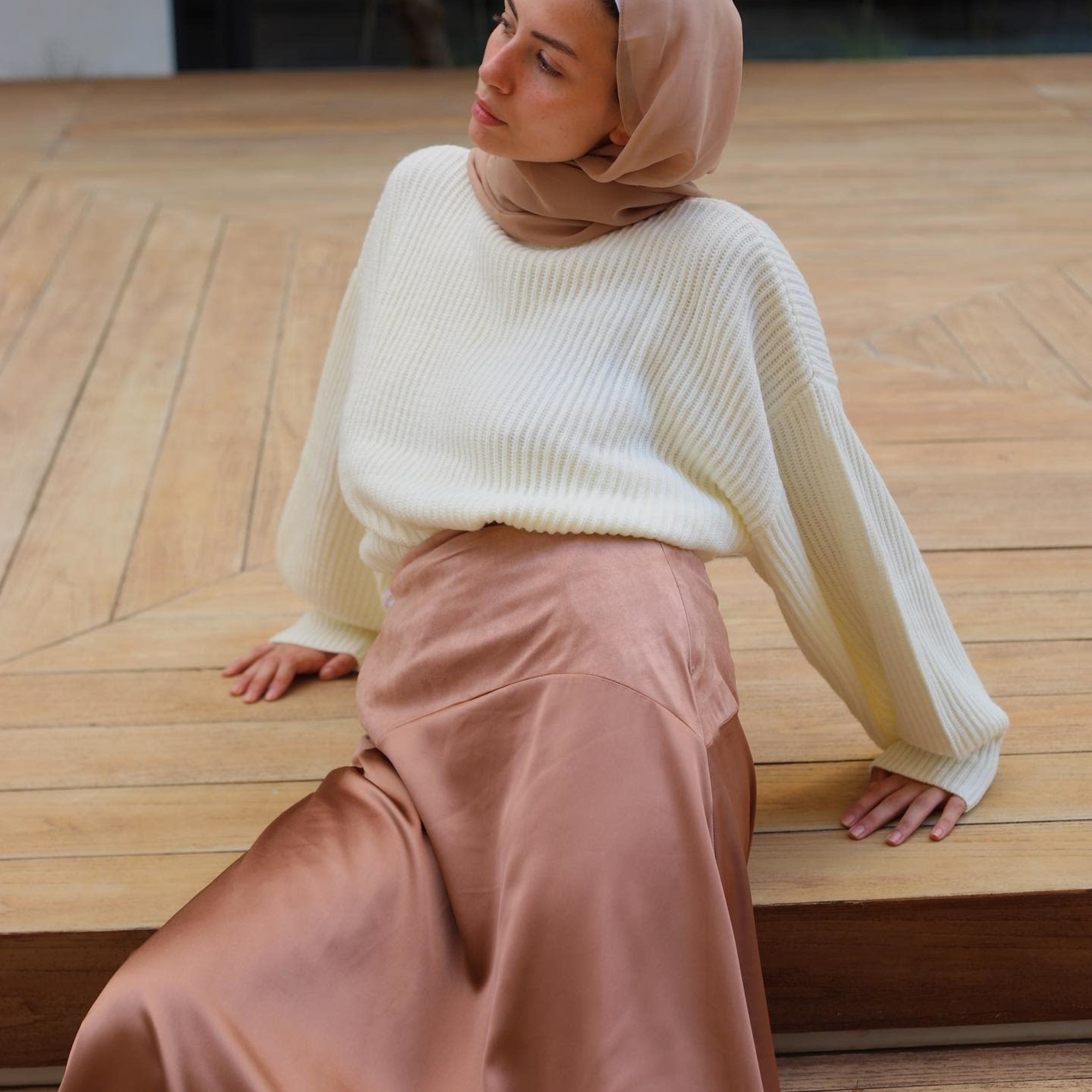 Hijab House Brown Silk Skirt