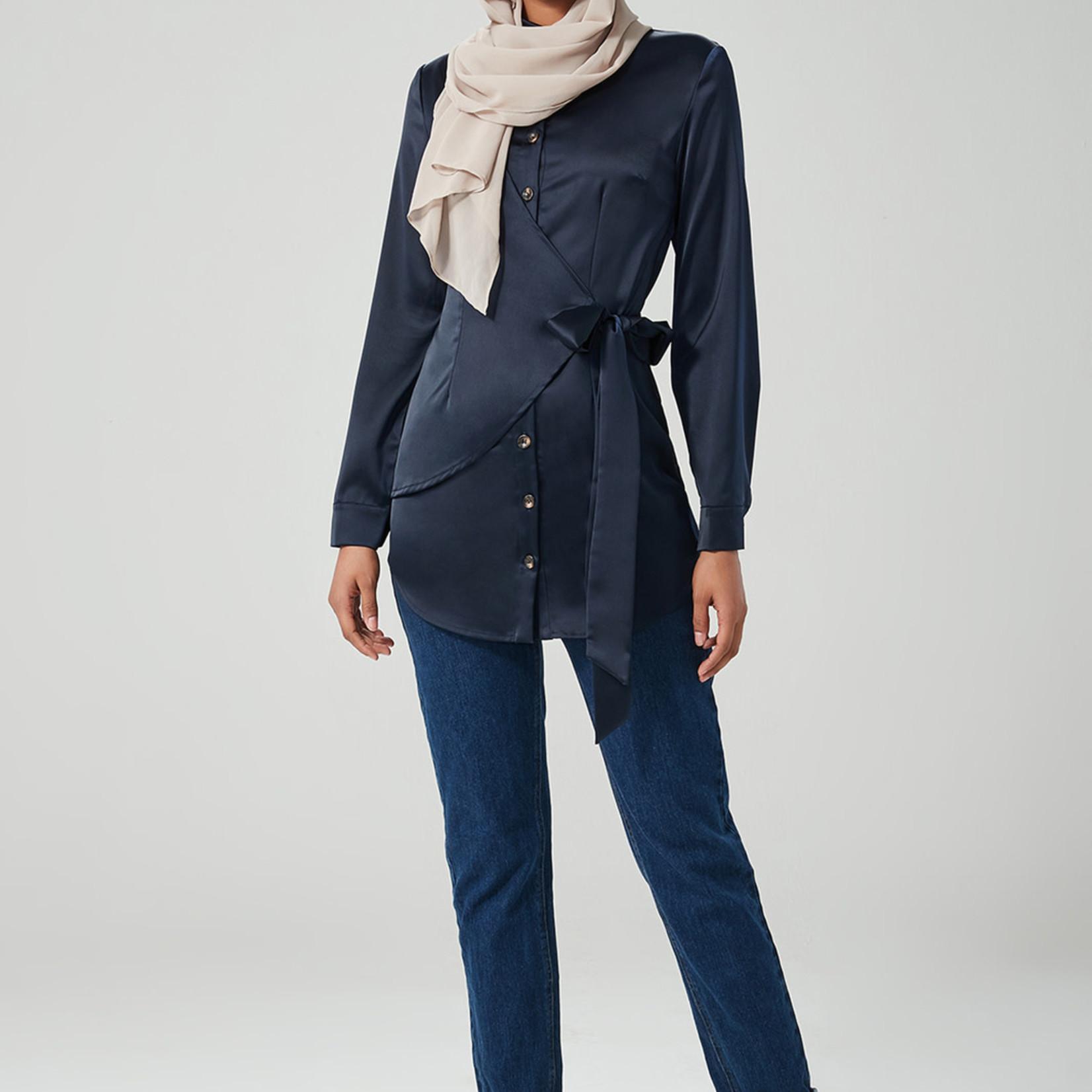 Hijab House Button Wrap Tie Shirt