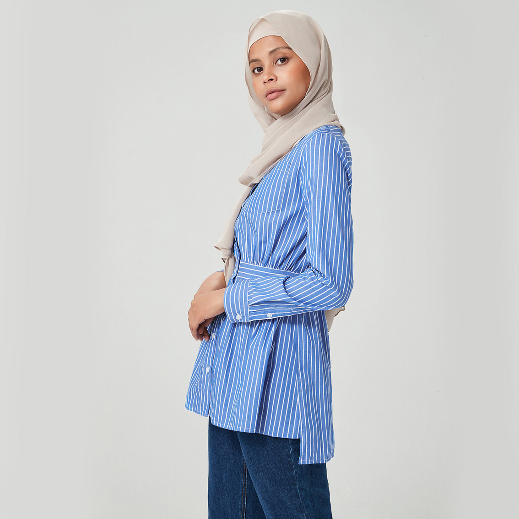 Hijab House Cobalt Striped Shirt