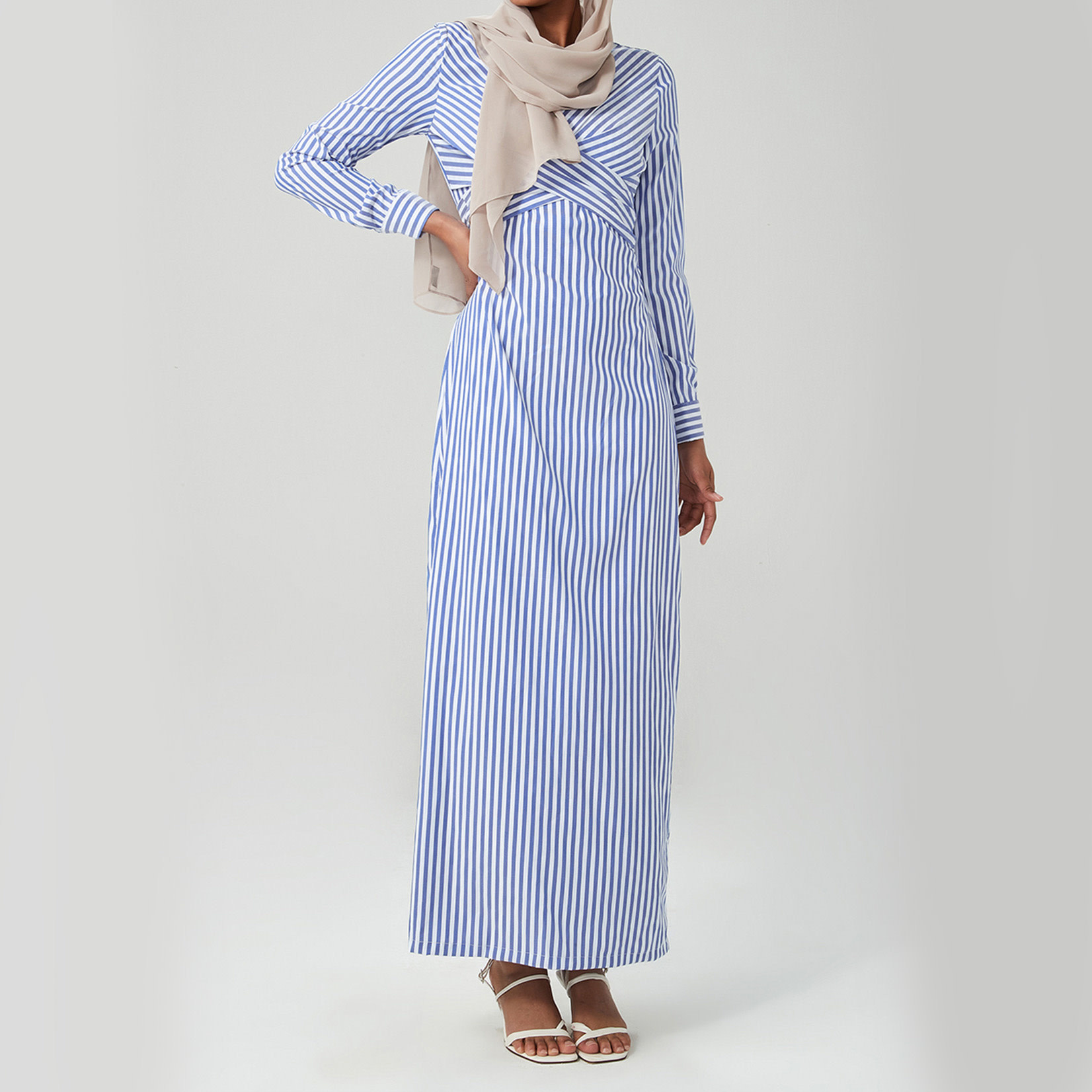 Hijab House Stripe Wrap Dress