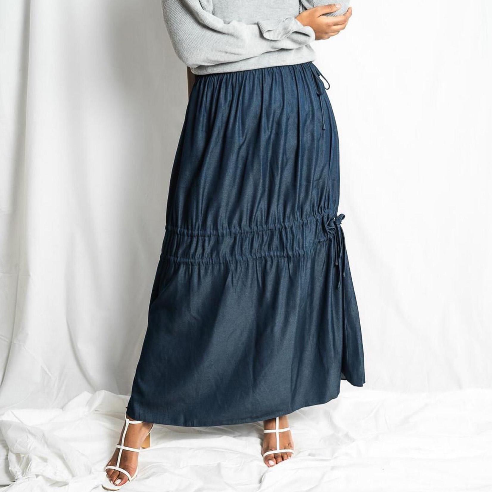 Hijab House Ruched Chambray Skirt