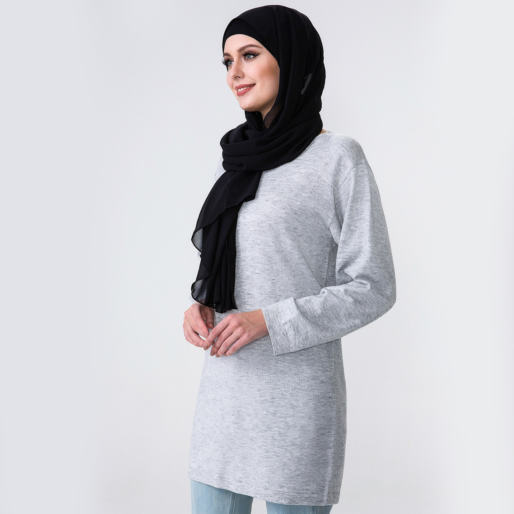 Hijab House Grey Long Knit Top