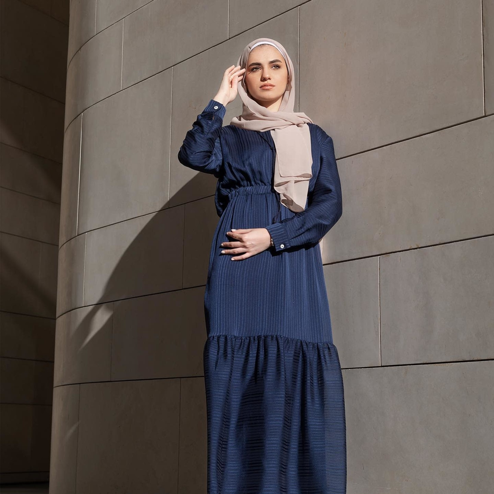 Hijab House Navy Ruffle Dress