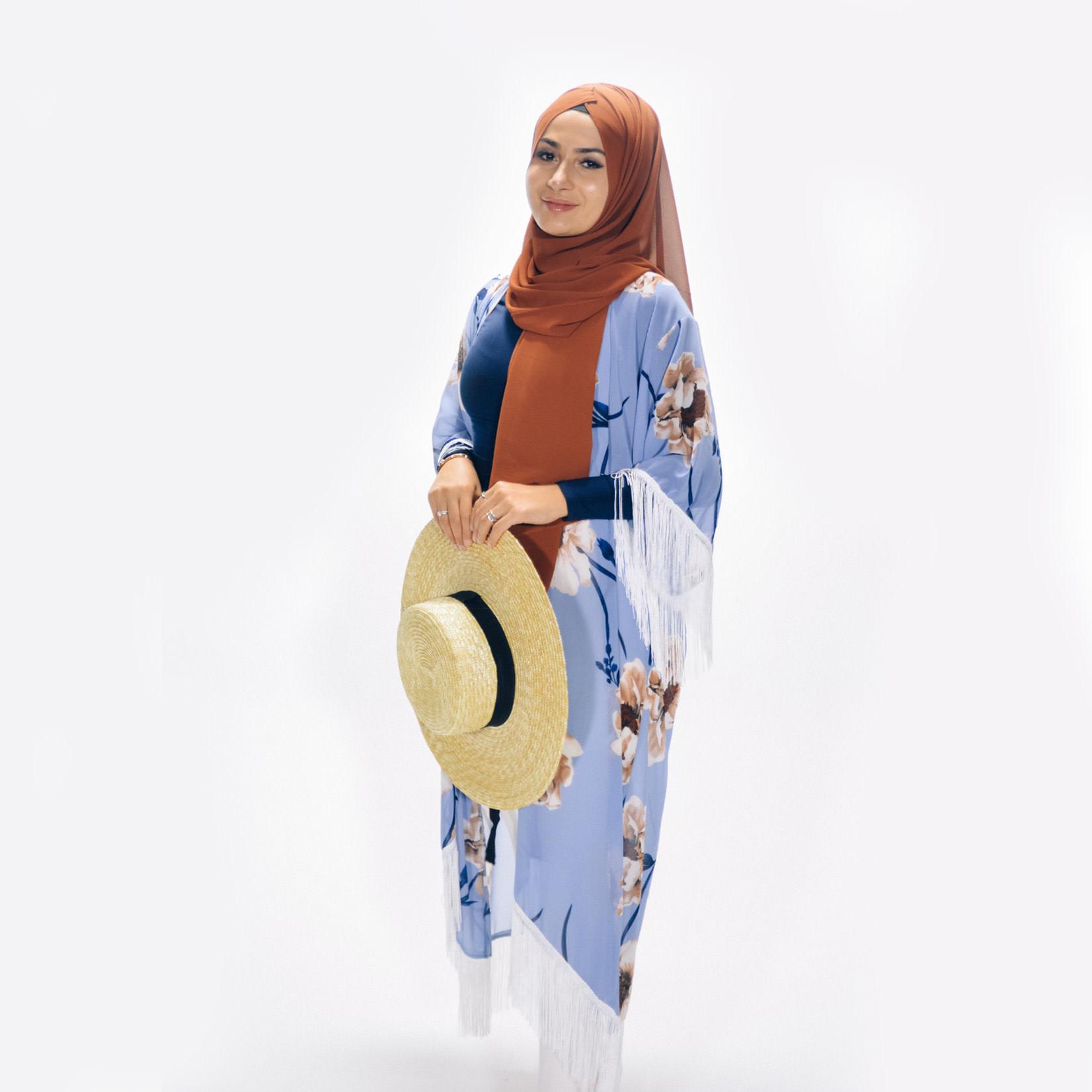 Nasiba Fashion Tassel Cardigan Sassy Blue
