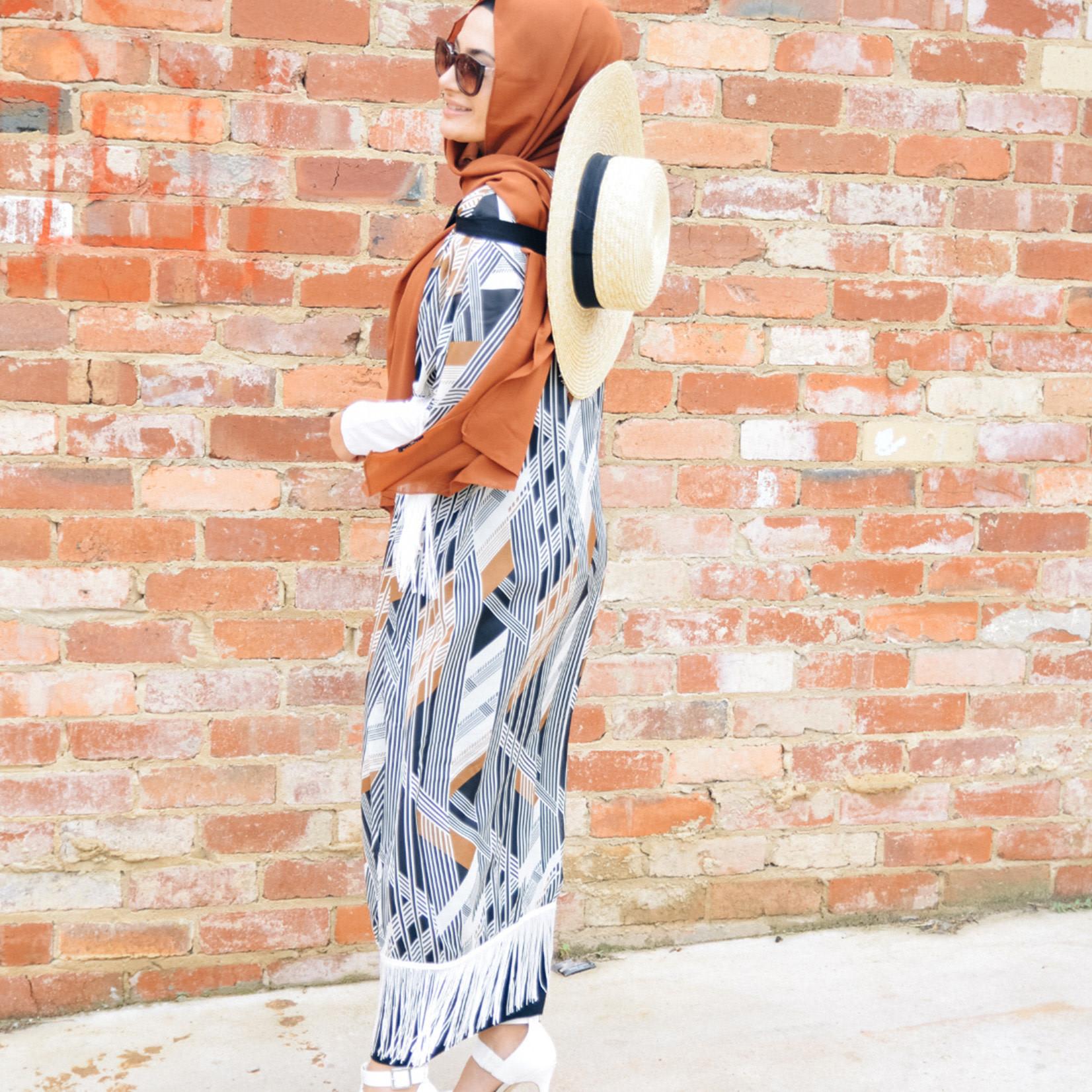 Nasiba Fashion Tassel Cardigan Monica Tan
