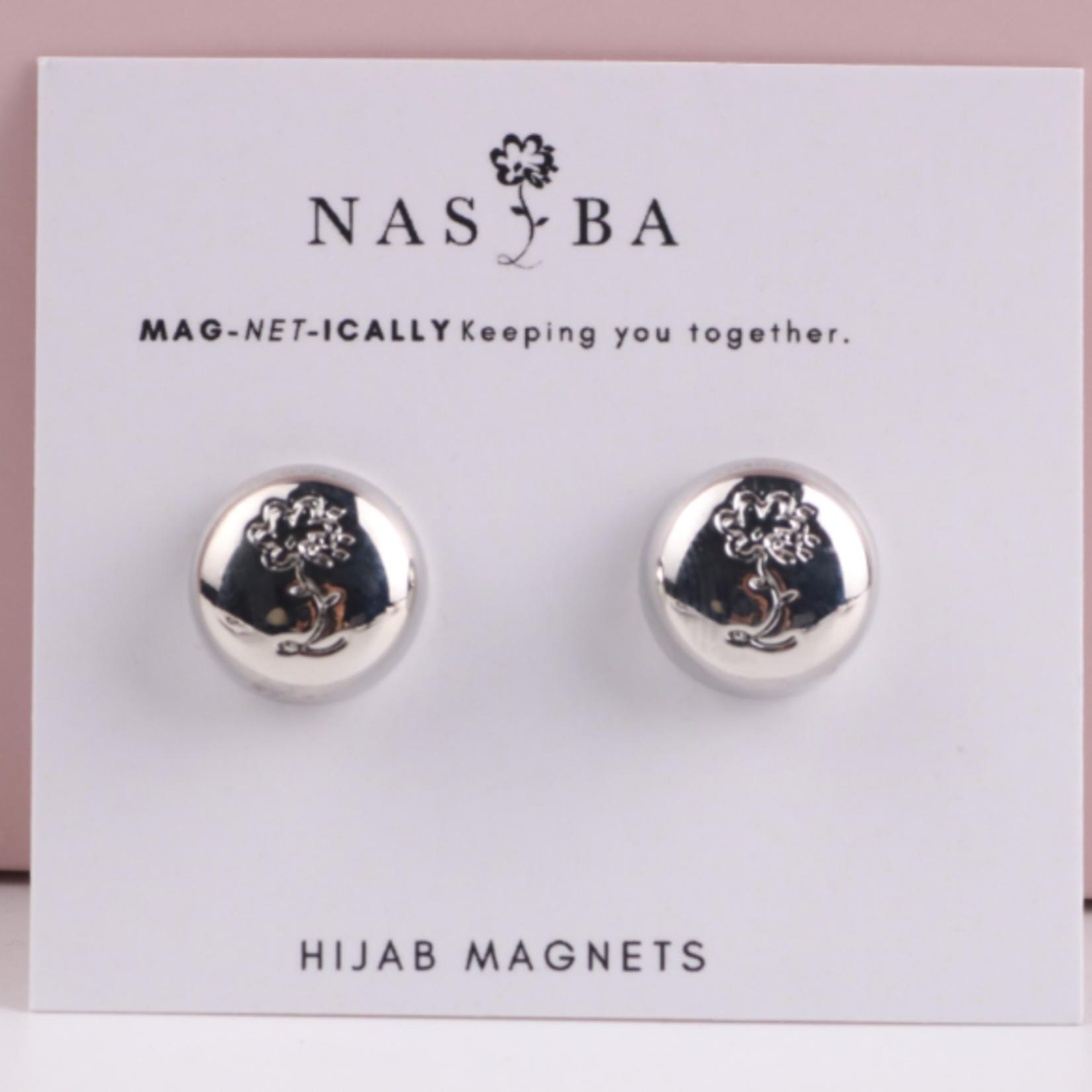 Nasiba Fashion Hijab Magnets  Metalic Silver