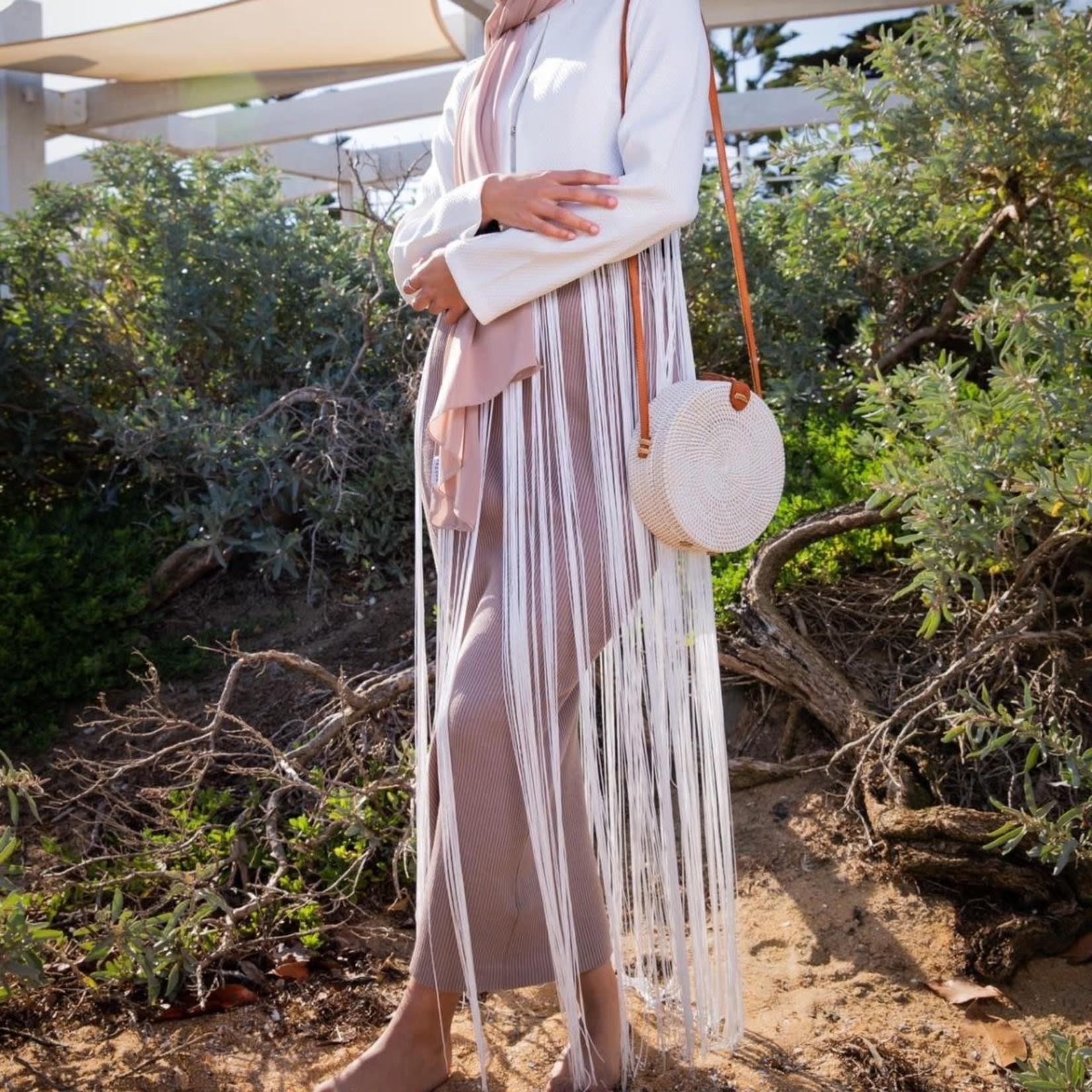 Nasiba Fashion White Tassel Cardigan