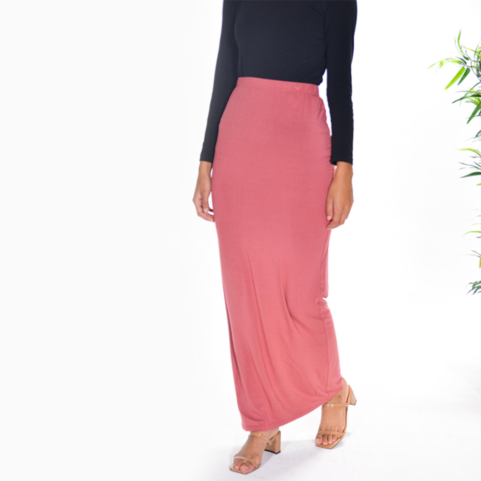 Nasiba Fashion Salmon Jersey Skirt
