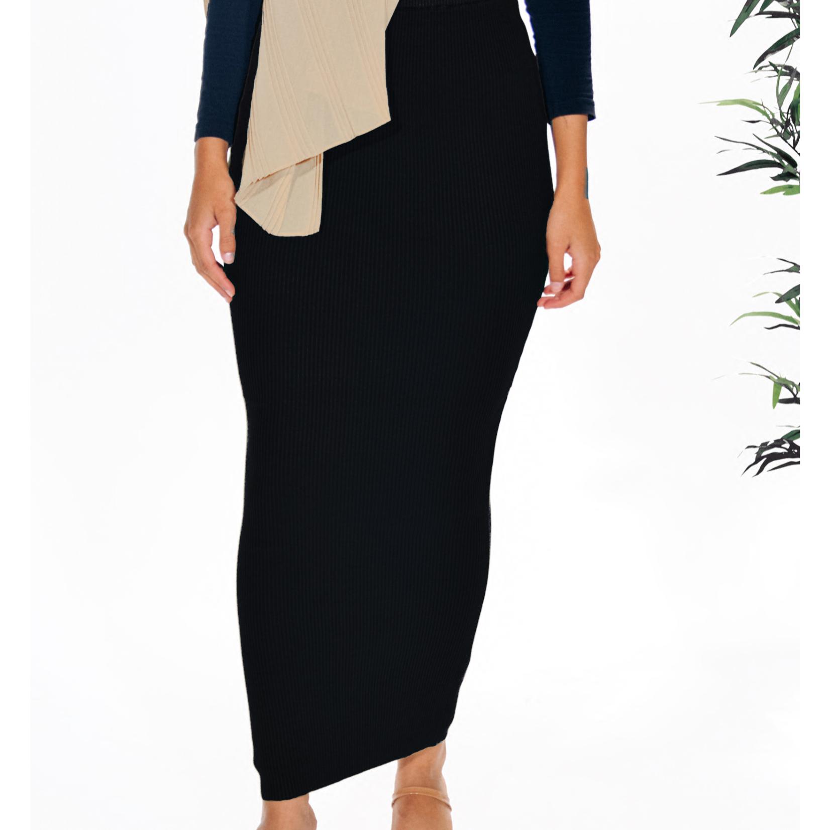 Nasiba Fashion Black Ribbed Skirt