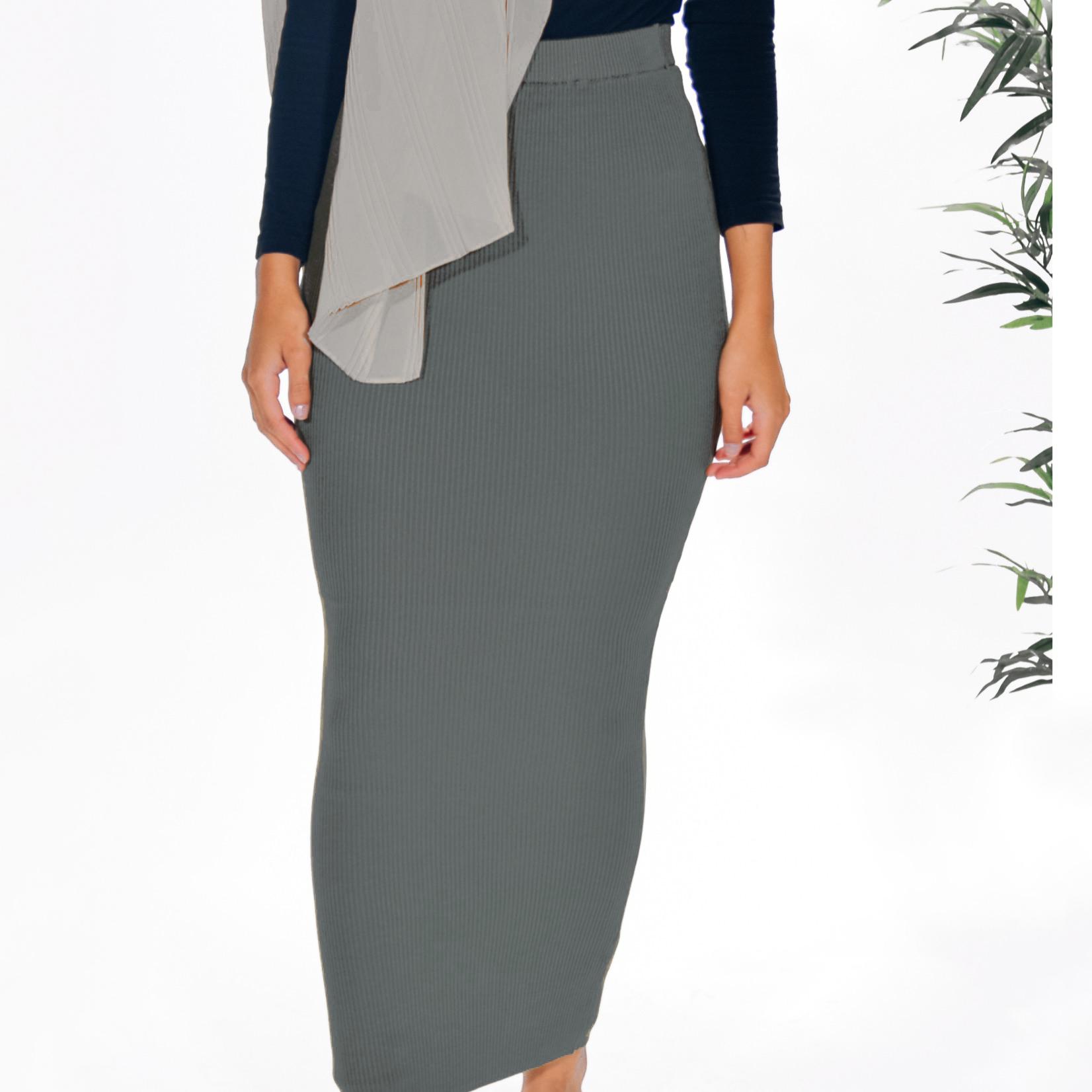 Nasiba Fashion Charcoal Ribbed Skirt