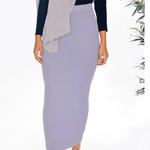 Nasiba Fashion Light Lilac Ribbed Skirt