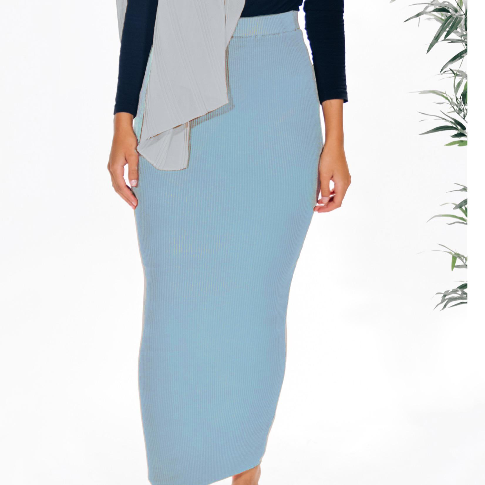 Nasiba Fashion Light Blue Ribbed Skirt