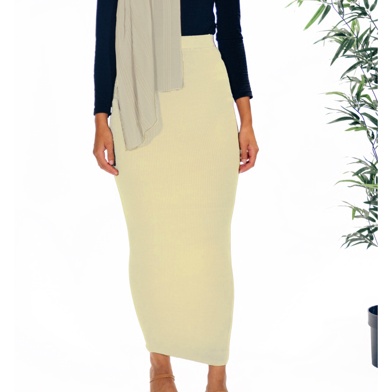Nasiba Fashion Cream Ribbed Skirt