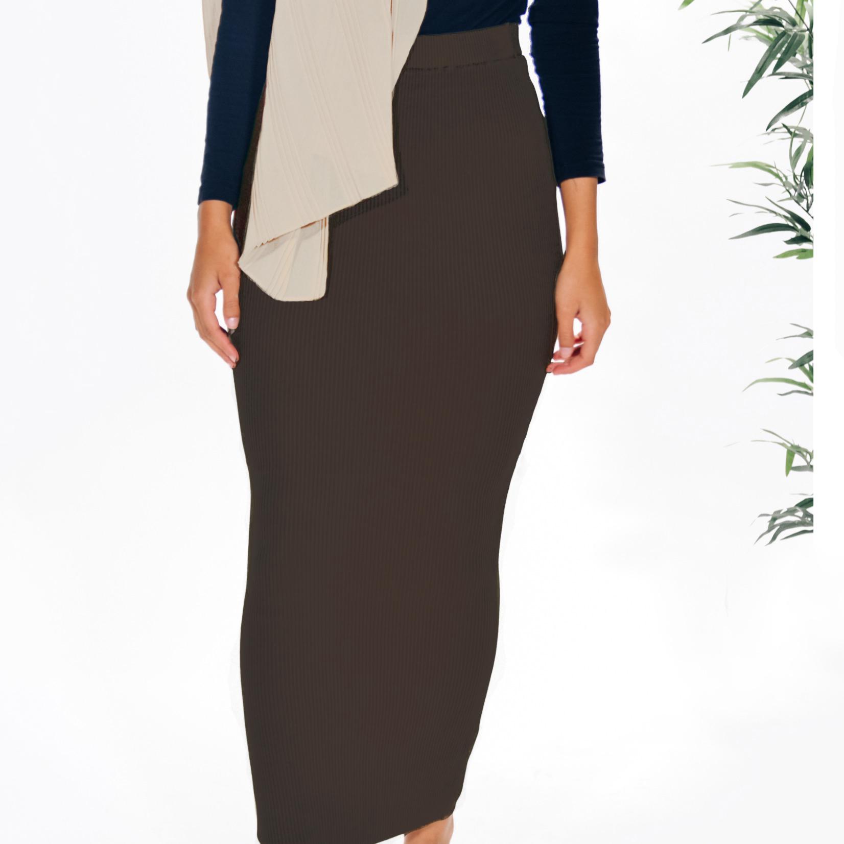 Nasiba Fashion Chocolate Ribbed skirt