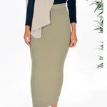 Nasiba Fashion Beige Ribbed skirt