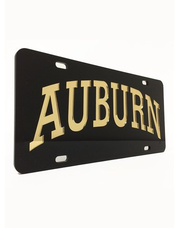 Craftique Arch Auburn Gold Letters in Black Background License Plate